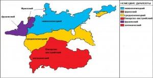 немецкие диалекты - карта