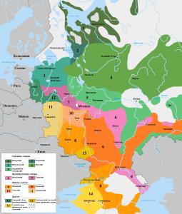 диалекты русского языка - карта